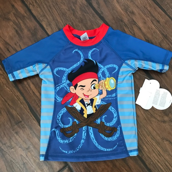 Rash Guard Swim Top Shirt NWT Boys Size 4  $20 DISNEY CARS McQUEEN UPF-50